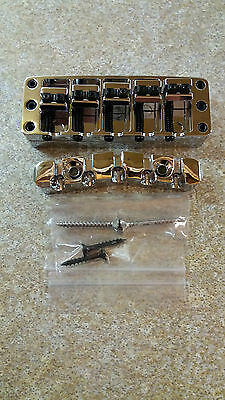 New Warwick 5 String Chrome 2pc Bridge, Standard Spacing, Including Screws