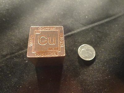 Copper 10 Oz Cube-Square 10 Ounce  99.9% Pure Fine Copper