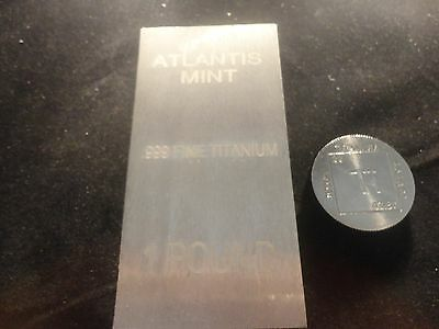 Titanium Duo-1- Round (1 Oz) & 1- Titanium  Bar (1 Lbs)  99.9% Pure--Great Combo