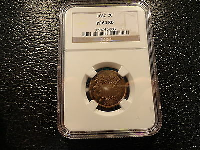 1867 2 Cent Shield Ngc Pf Proof 64 Rb- Very Low Mintage-Scarce- Discount