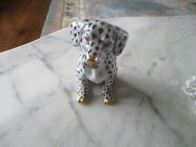 Herend  Dog Black Fishnet with 24 K Gold Mint Condition RARE