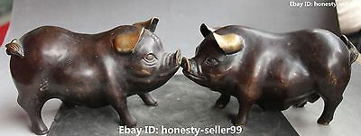 "8"" Chinese Fengshui Bronze Gilt Carving Foo Fu Pig Hog Pigs  Animal Pair Statue"