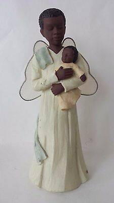 Sarah's Attic Family Essence Looking Over Him African American Angel and Child