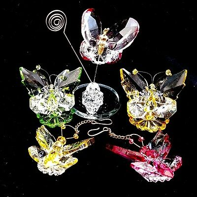 Set of Miniature Crystal Glass Butterfly Wildlife Ornaments
