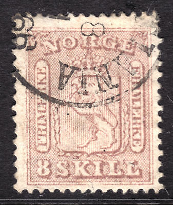 1863 NORWAY #9 8s ROSE, VF, CDS CANCEL