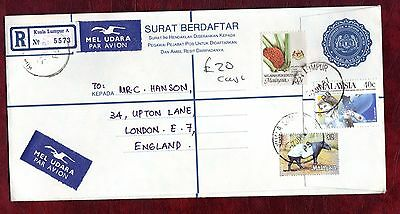 """MALAYSIA STAMPS- 60s stationery + Drug Conference 40c,airmail """"R"""" to UK, 1987"""