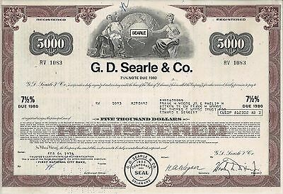 G. D. Searle & Co., 1974,  7 1/2% Note due 1980 (5.000 $)