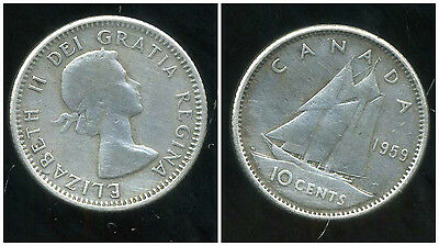 CANADA 10 cents  1959   ARGENT