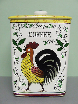 Vintage Ucagco PY Rooster & Roses Coffee Canister (Japan)