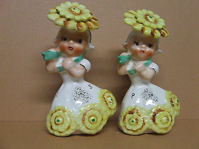 Vintage Napco Flower Girl, November Birthday Salt & Pepper  (1958/Japan/#1C3025)