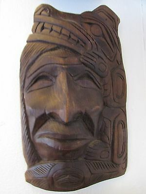 """Northwest Coast carving """" Moon in a Wolf's Tail """" signed mask-plaque by DM Baker"""