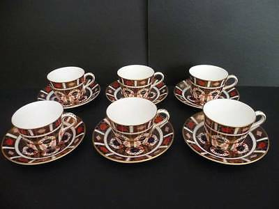 ROYAL CROWN DERBY OLD IMARI 1128 SET OF SIX TEA CUPS AND SAUCERS 1st QUALITY