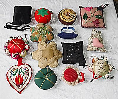 Vintage Needlework & Sewing Notions 14 Pin Cushions Silk Felt Aplique Embroidery