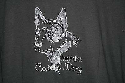 Australian Cattle Dog Embroidered On A 3XLarge Black Color T-Shirt