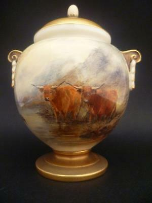 Royal Worcester Vase & Cover By J0Hn  Stinton With Highland Cattle Date 1921