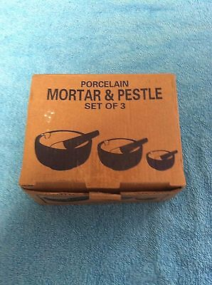 HIC Porcelain Set of 3 Mortar and Pestle White, New, Free Shipping