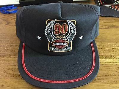 Collectible Harley Davidson 90th Anniversary Cap Black Cotton Adjustable Hat