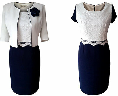 Size 20 Navy Ivory Lace Mother Of The Bride Groom Outfit 2 Piece Jacket Dress