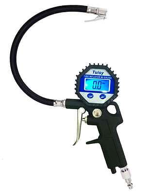 Digital Tire Inflator with Pressure Gauge and Straight Lock On Air Chuck 150 PSI