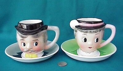 2 Rare Napco Coronet PY, Man and Woman w/ Matching Character Cup & Saucer Set