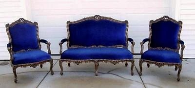 Antique Settee Two Fauteuils Chairs  Royal Blue  and Gold