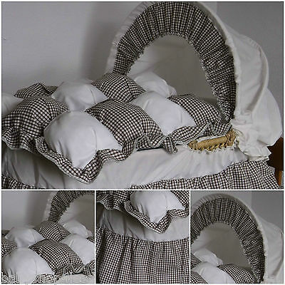 Replacement Moses Basket Dressing Bedding Set Choc & Cream Gingham Cotton Mix