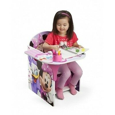 Minnie Mouse Desk Seat Disney Chair Girl Toddler Kid Play Activity Storage Table