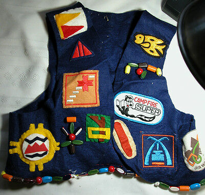 Vintage Campfire Girls vest with patches and wool cap