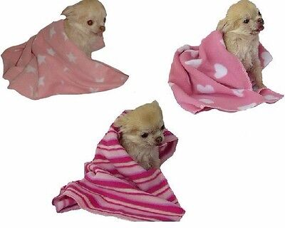 Dog Fleece Blanket PINK small animal pet puppy cat kitten xs -s -m