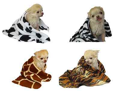 Dog Fleece Blanket Animal Print small pet puppy cat kitten jaguar tiger zebra