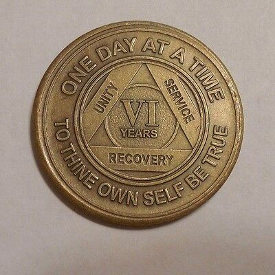 aa alcoholics anonymous bronze 6 year recovery sobriety  coin token medallion