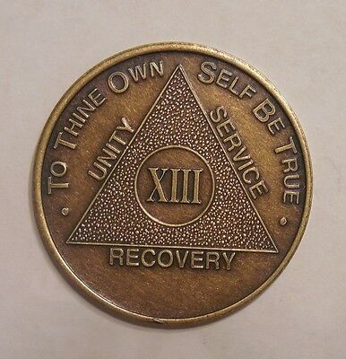 aa bronze alcoholics anonymous 13 year sobriety chip coin token medallion