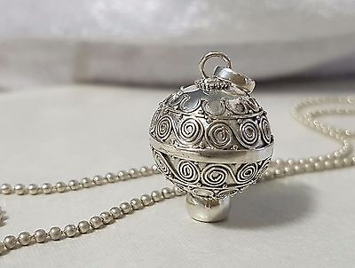 925 STERLING SILVER Swirls Harmony Chime Ball Angel Caller Pendant 16mm w/Chain