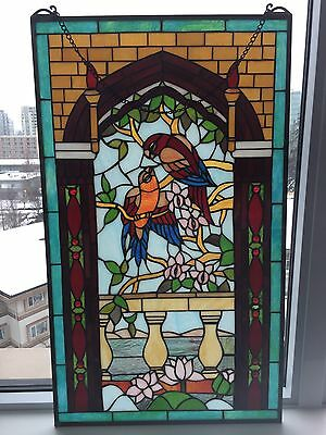 """Tiffany Style """"Kissing Parrots"""" Design Hanging Stained Glass- 20""""x34"""". UPS SHIP."""