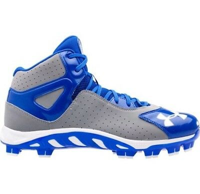 NEW! Under Armour Spine Heater Mid TPU Baseball Cleats Size 13 Blue Grey White