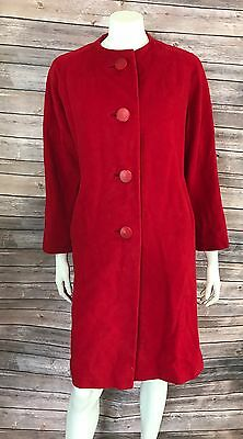 VTG Exclusive Quality Womens Dress Coat Size Large Red Swing 100% Cashmere 60s