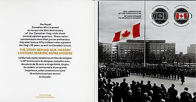 2015 Canada 50th Anniversary of the Canadian Flag, two 25-Cents & Collector Card