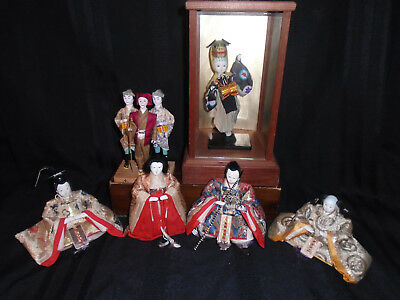 4 + 3 + 1 Antique Japanese Hina Imperial Court Empres Dolls With Gofun Faces