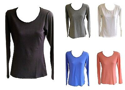 Ladies Scoop Neck Round Neck Casual Long Sleeve Basic T Shirt Top Blouse