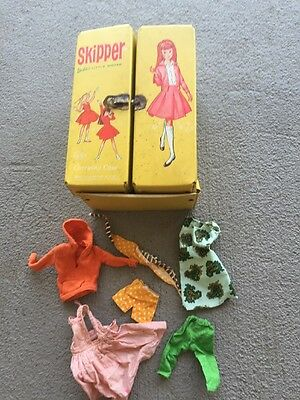 Vintage 1964 Skipper Barbie Doll Yellow Carrying Case With Lot Clothes