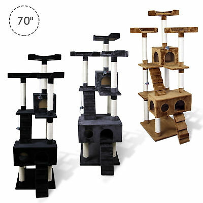 "PawHut 70"" Cat Scratching Tree Kitten Condo Play House Kitty Multi-level Tower"