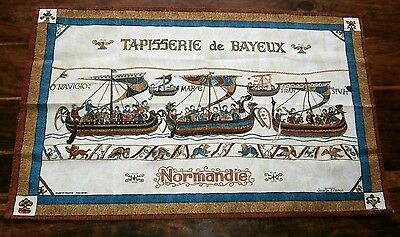 Vtg cotton tea towel Josette Franco Tapisserie Bayeux Normandie