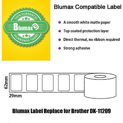 BLUMAX White Labels Replace for Brother DK-11209,29mm x 62mm (800 labels/roll)
