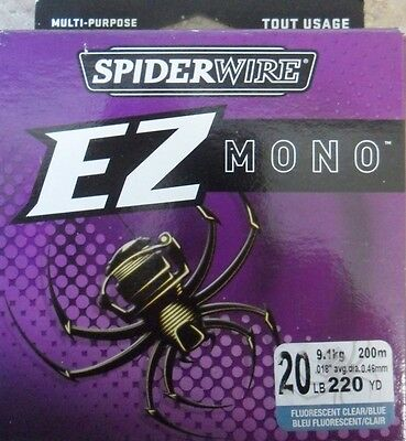 Spiderwire EZ Mono 220yds 20lbs Clear Blue Fishing Line