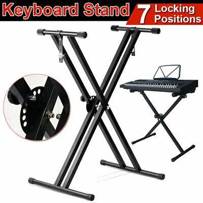 Foldable Professional Double Braced X-Type Music Keyboard Stand Height Adjustabl