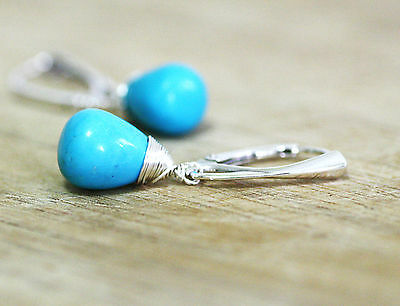 Natural Arizona Sleeping Beauty Turquoise Wire Wrapped Earrings Lever Back 11th