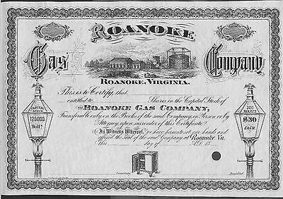 Roanoke Gas Company Roanoke Virginia Stock  Certificate Rare Specimen !!!!!!!!!!
