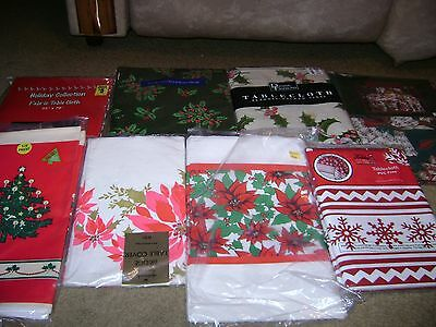 Christmas Tablecloth Lot of 8...Vinyl/Fabric/Paper/Plastic...Round/Square...NEW