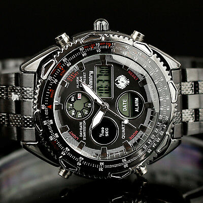 Infantry Mens Digital Quartz Wrist Watch Luxury Army Sport Black Stainless Steel