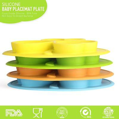 One-Piece Silicone Placemat Food Plate Mat Baby Toddler Child Kids Divided Bowl